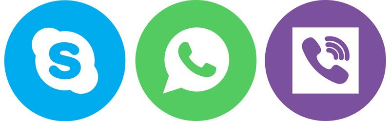 Skype, WhatsApp sessions